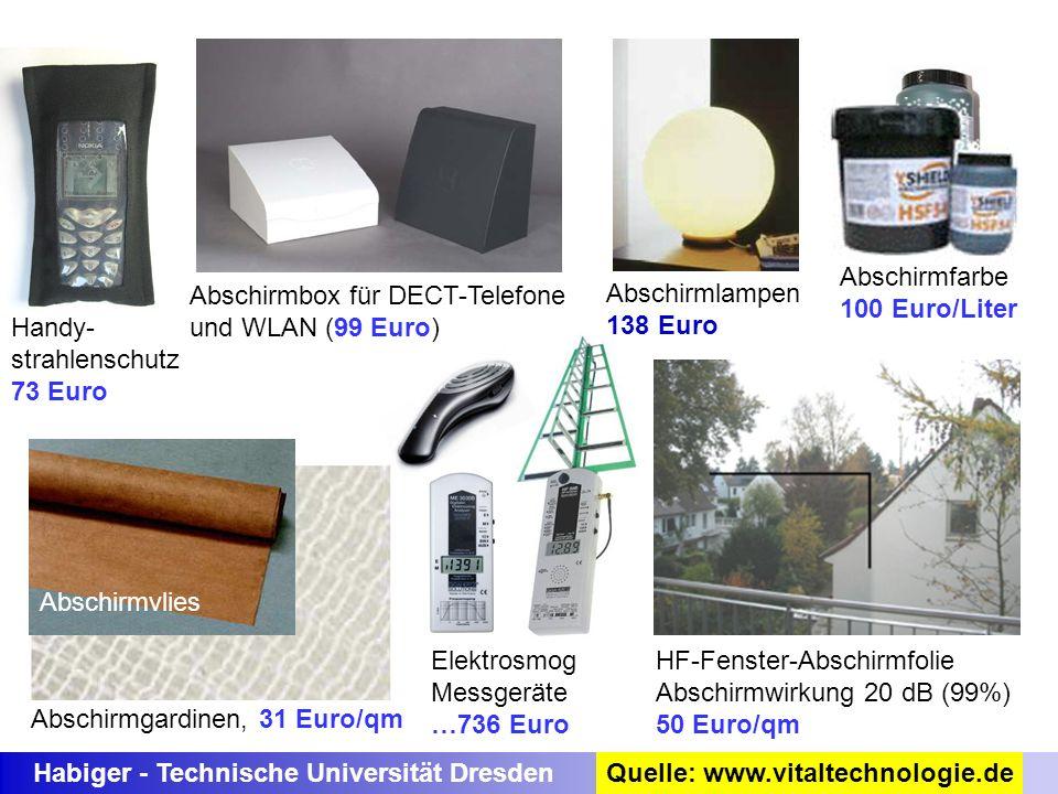 Abschirmfarbe 100 Euro/Liter. Abschirmbox für DECT-Telefone. und WLAN (99 Euro) Abschirmlampen. 138 Euro.