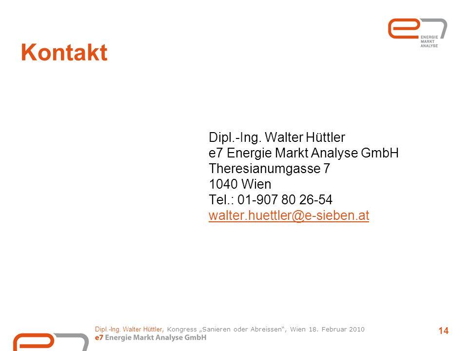 Kontakt Dipl.-Ing. Walter Hüttler e7 Energie Markt Analyse GmbH