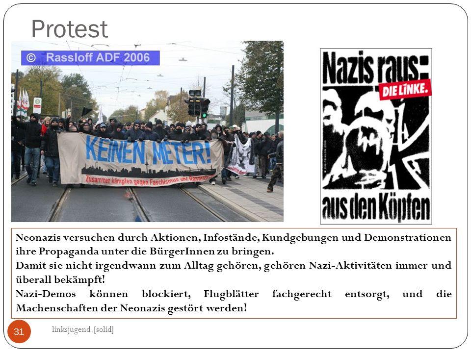 Protest Neonazis versuchen durch Aktionen, Infostände, Kundgebungen und Demonstrationen ihre Propaganda unter die BürgerInnen zu bringen.