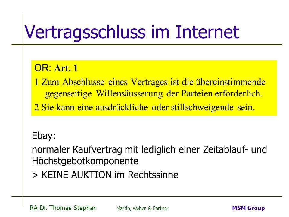 Vertragsschluss im Internet