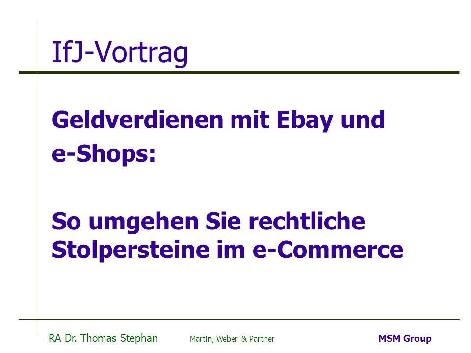 IfJ-Vortrag Geldverdienen mit Ebay und e-Shops: