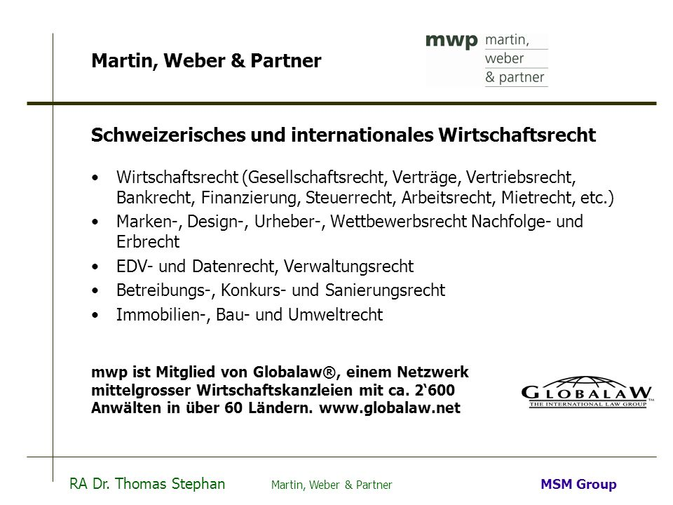 Schweizerisches und internationales Wirtschaftsrecht