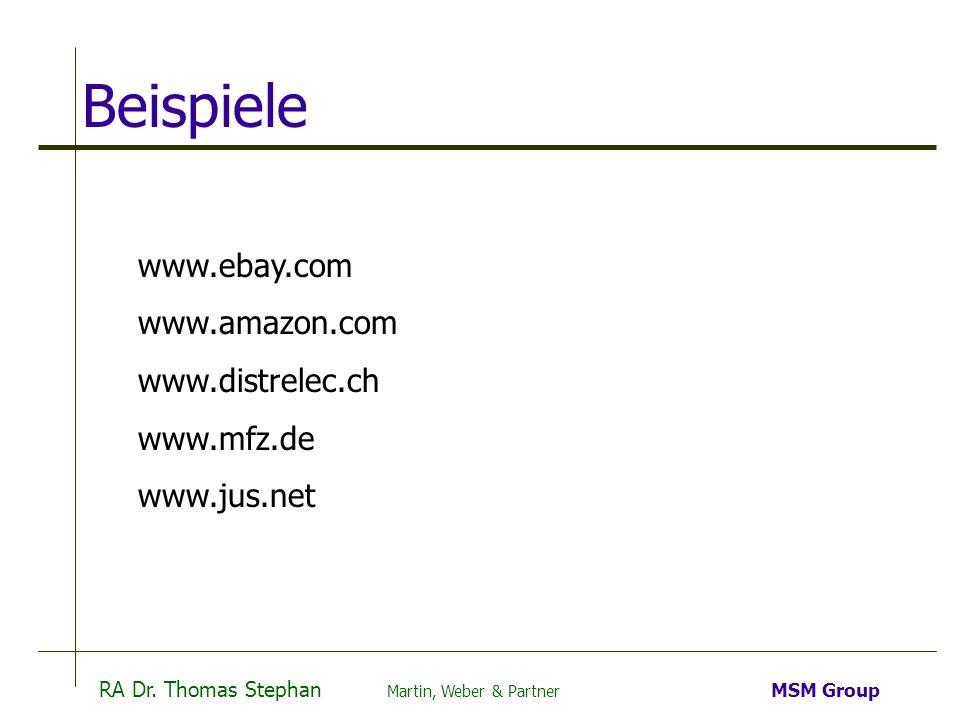 Beispiele www.ebay.com www.amazon.com www.distrelec.ch www.mfz.de
