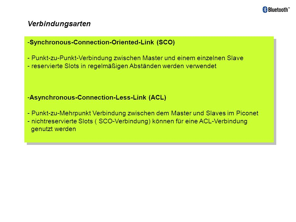 Verbindungsarten Synchronous-Connection-Oriented-Link (SCO)