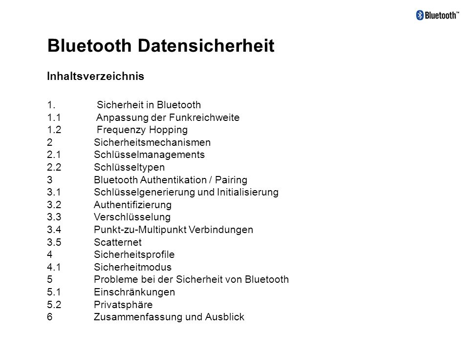 Bluetooth Datensicherheit
