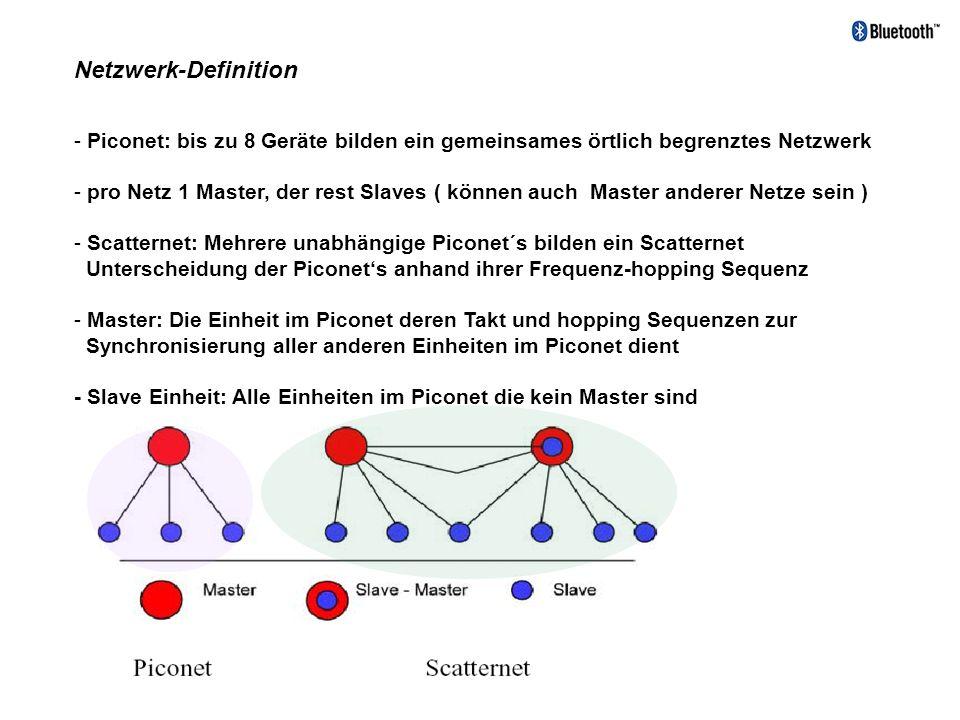 Netzwerk-Definition Piconet: bis zu 8 Geräte bilden ein gemeinsames örtlich begrenztes Netzwerk.
