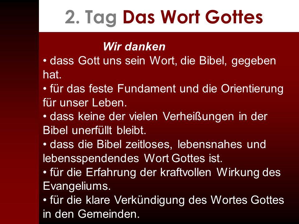 2. Tag Das Wort Gottes Wir danken