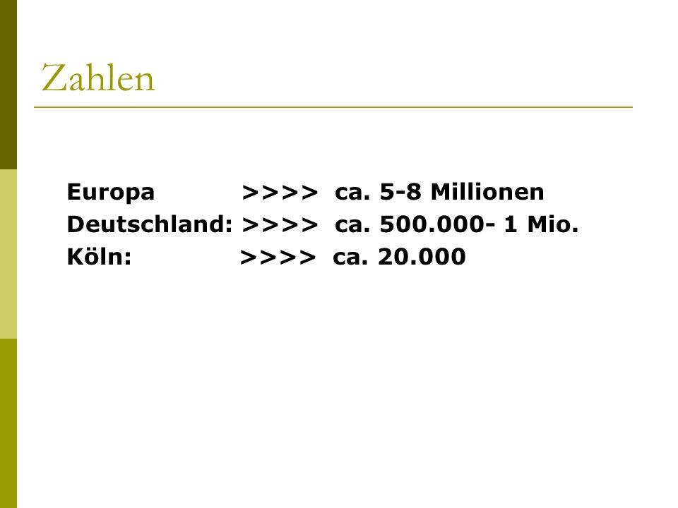 Zahlen Deutschland: >>>> ca. 500.000- 1 Mio.