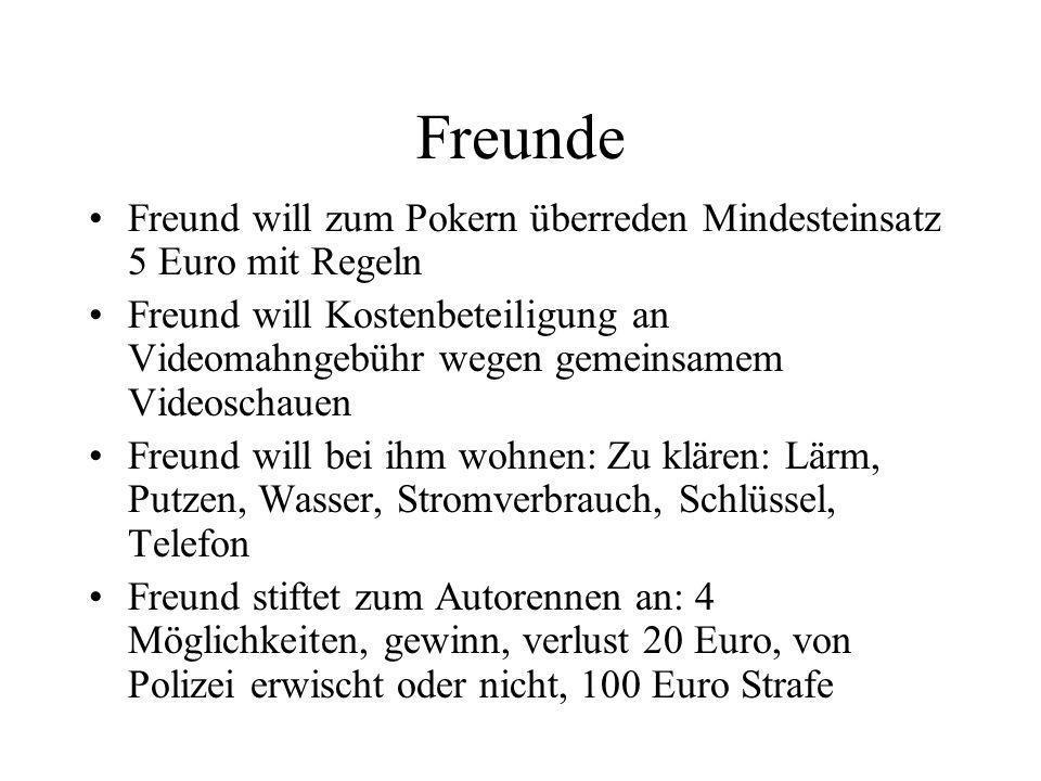 Freunde Freund will zum Pokern überreden Mindesteinsatz 5 Euro mit Regeln.