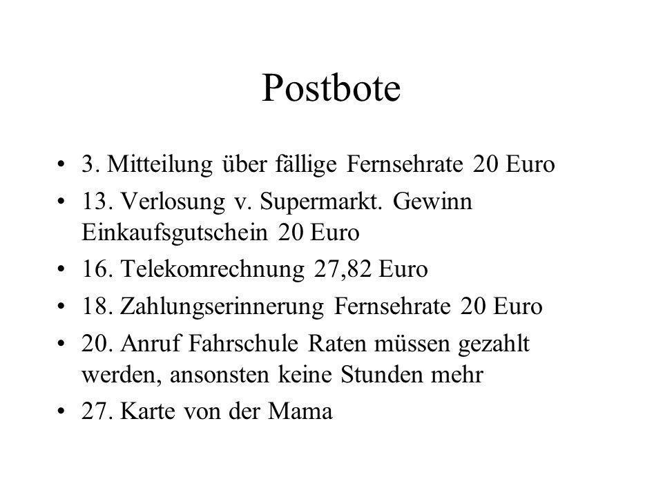 Postbote 3. Mitteilung über fällige Fernsehrate 20 Euro