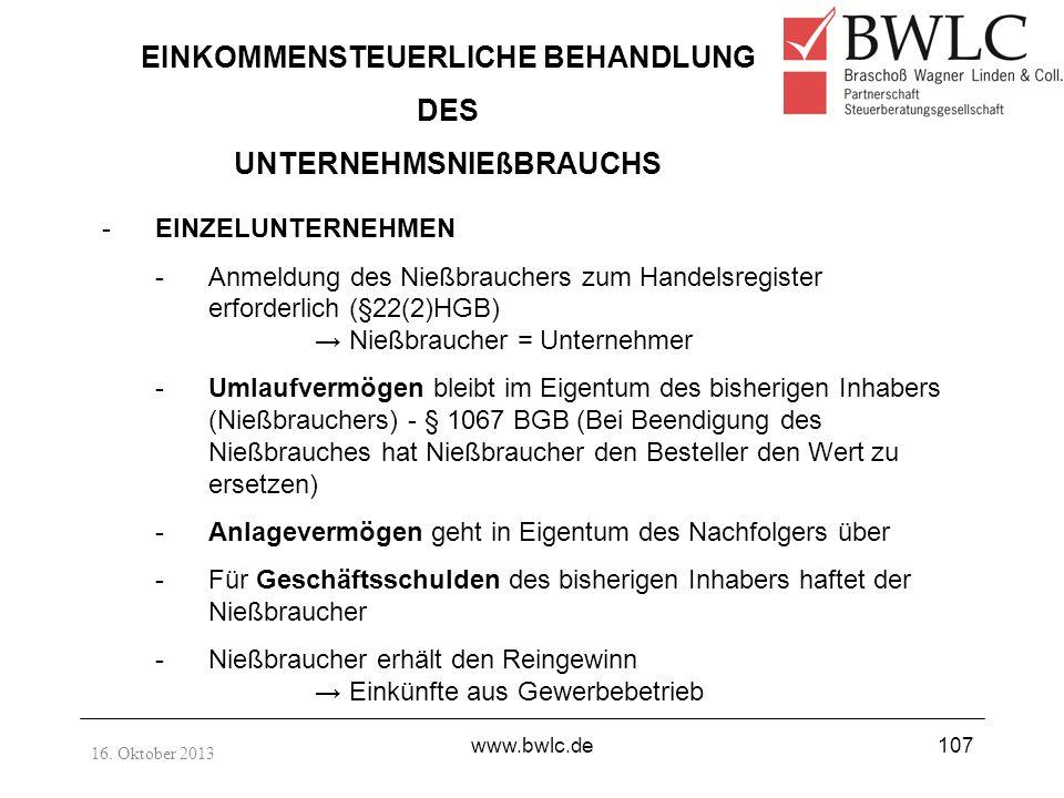 EINKOMMENSTEUERLICHE BEHANDLUNG DES UNTERNEHMSNIEßBRAUCHS