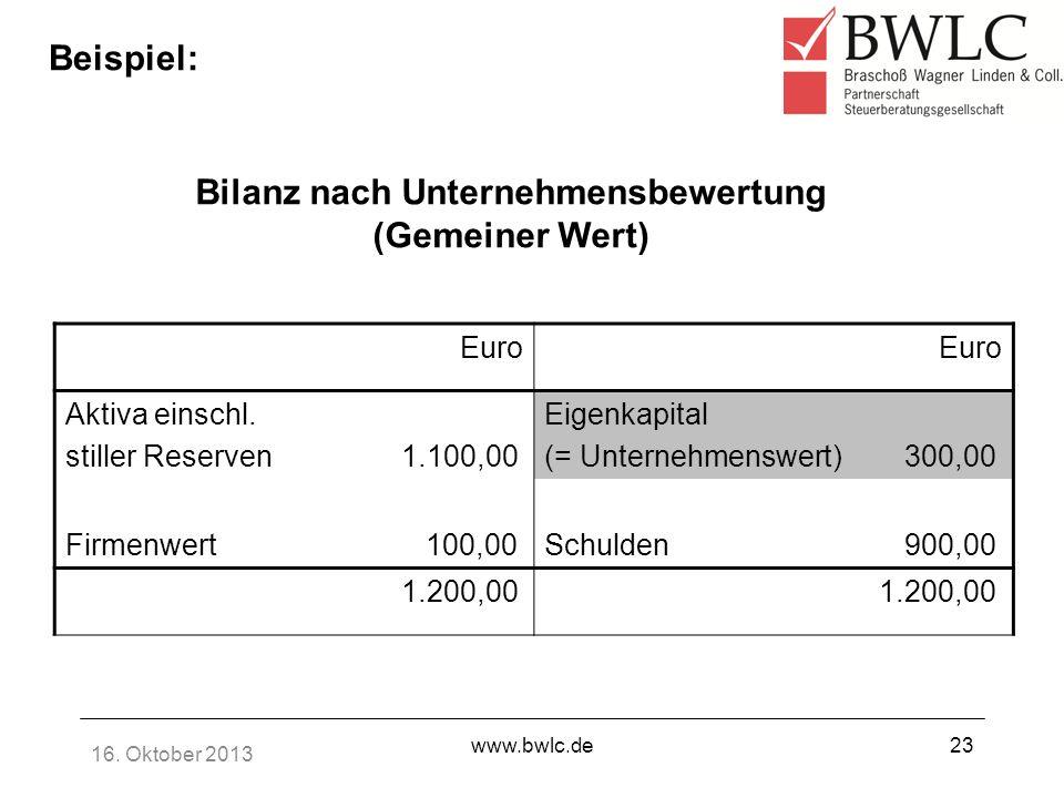 Bilanz nach Unternehmensbewertung (Gemeiner Wert)