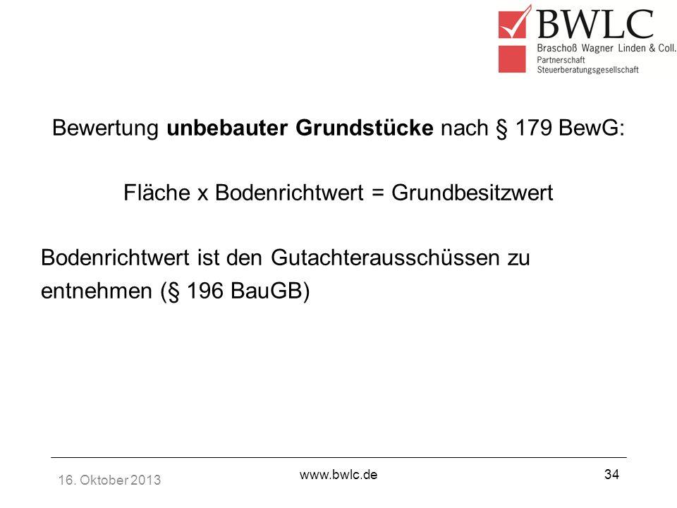 Bewertung unbebauter Grundstücke nach § 179 BewG:
