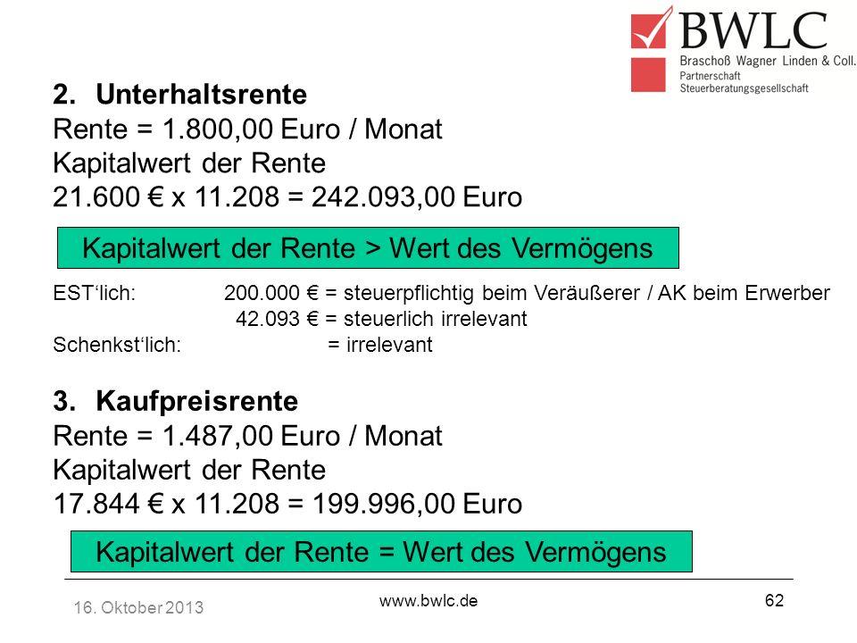 Kapitalwert der Rente > Wert des Vermögens