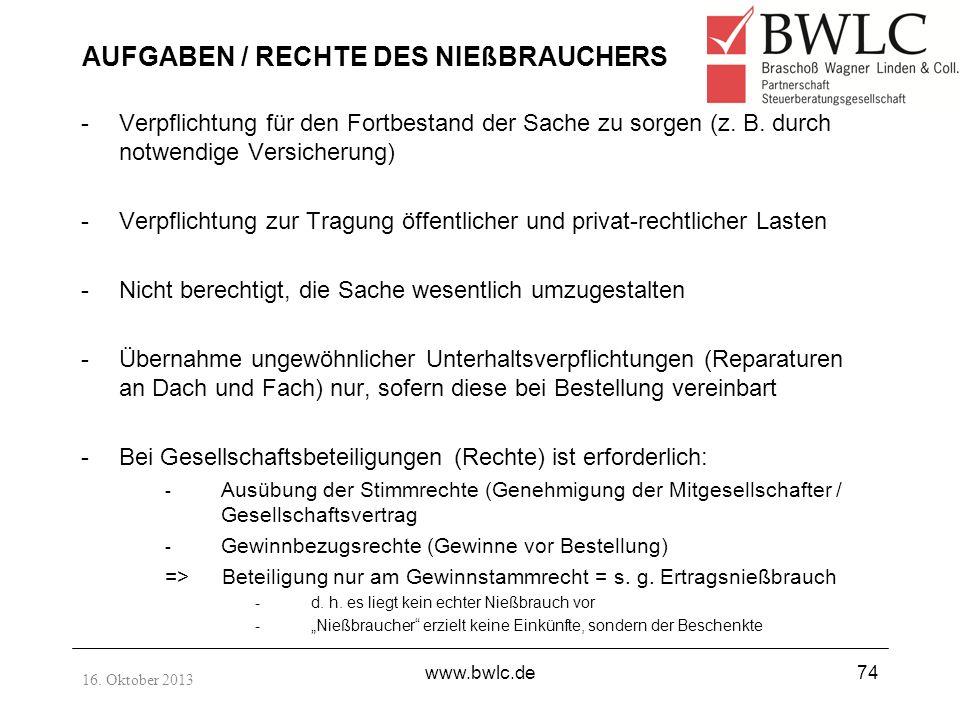 AUFGABEN / RECHTE DES NIEßBRAUCHERS