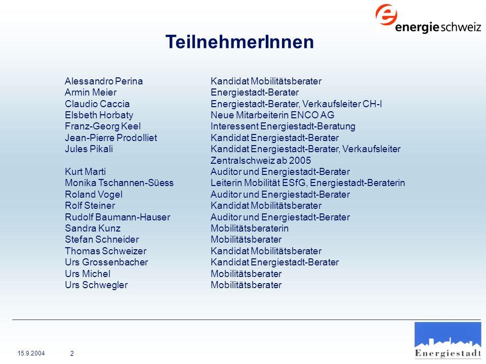 TeilnehmerInnen Armin Meier Energiestadt-Berater