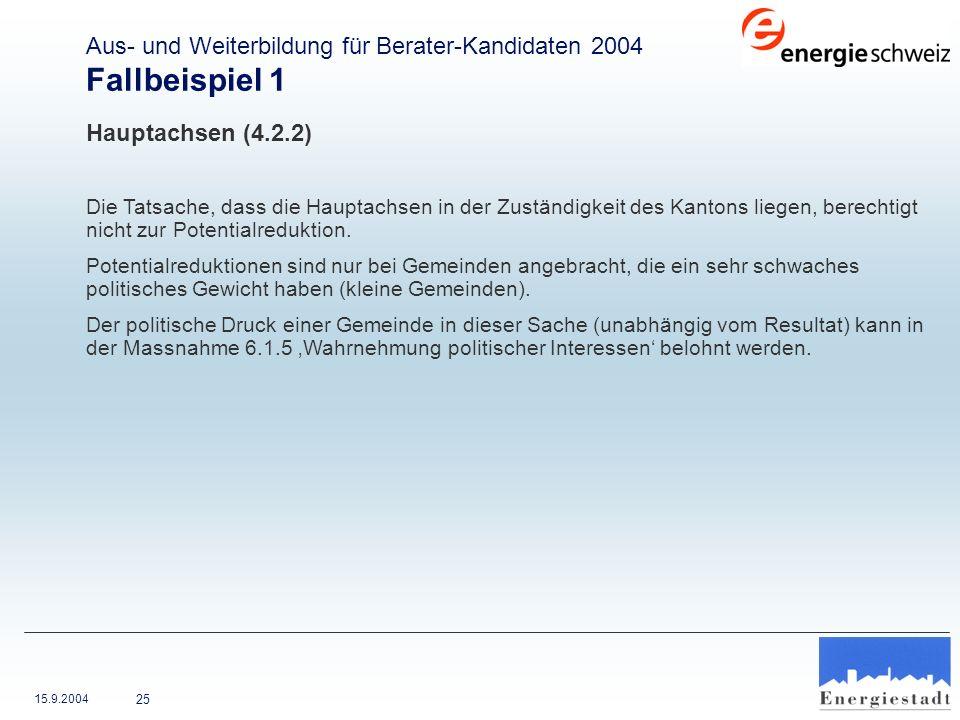 Fallbeispiel 1 Aus- und Weiterbildung für Berater-Kandidaten 2004