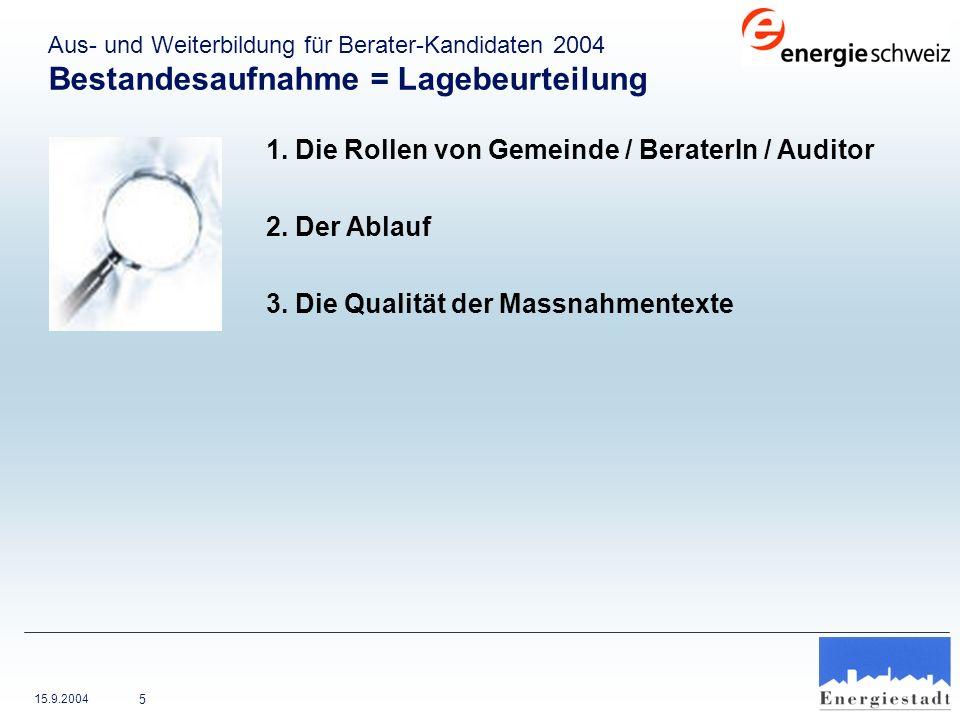 1. Die Rollen von Gemeinde / BeraterIn / Auditor 2. Der Ablauf