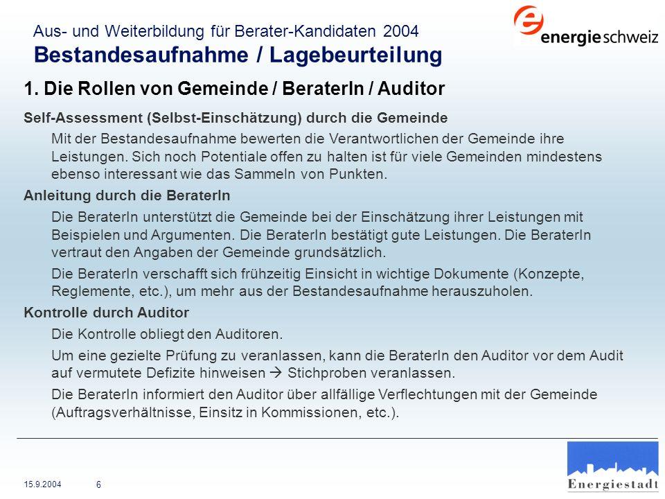 1. Die Rollen von Gemeinde / BeraterIn / Auditor