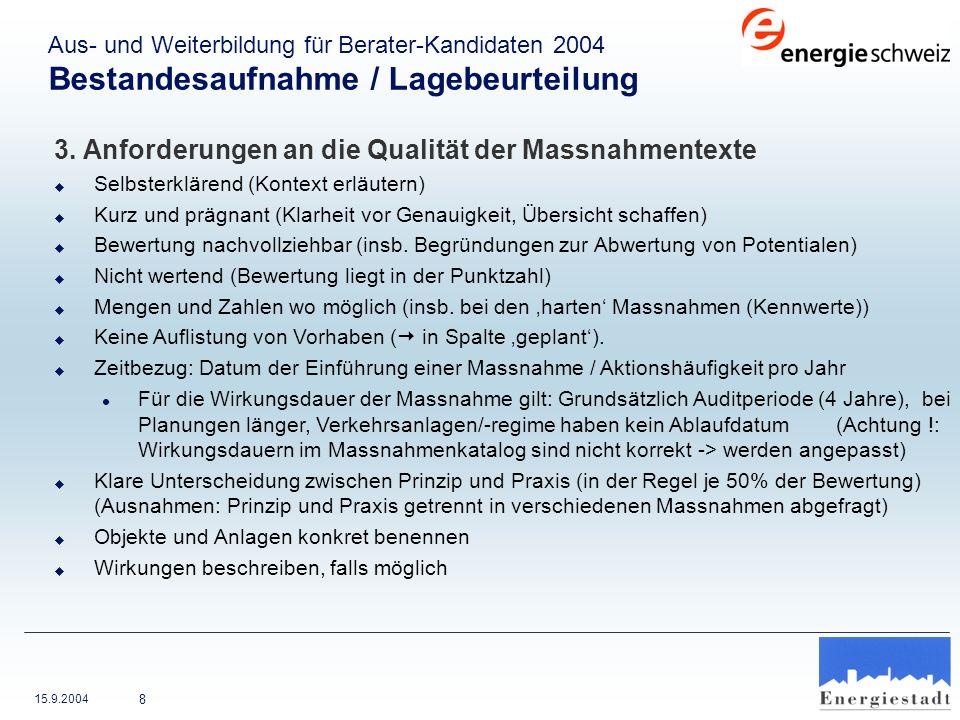 3. Anforderungen an die Qualität der Massnahmentexte