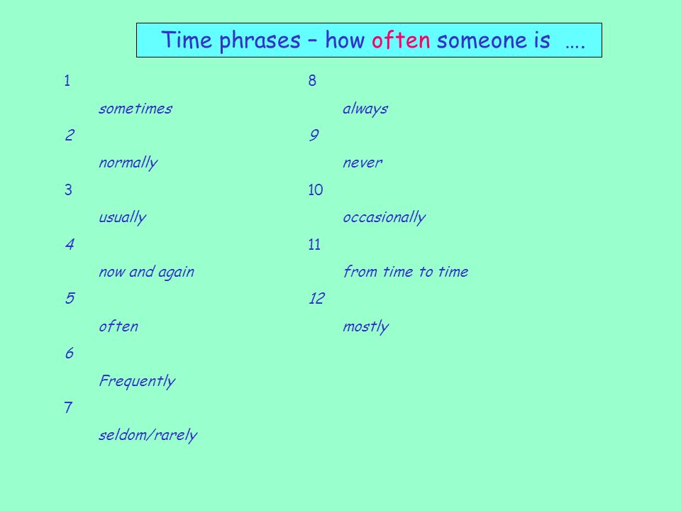 Time phrases – how often someone is ….
