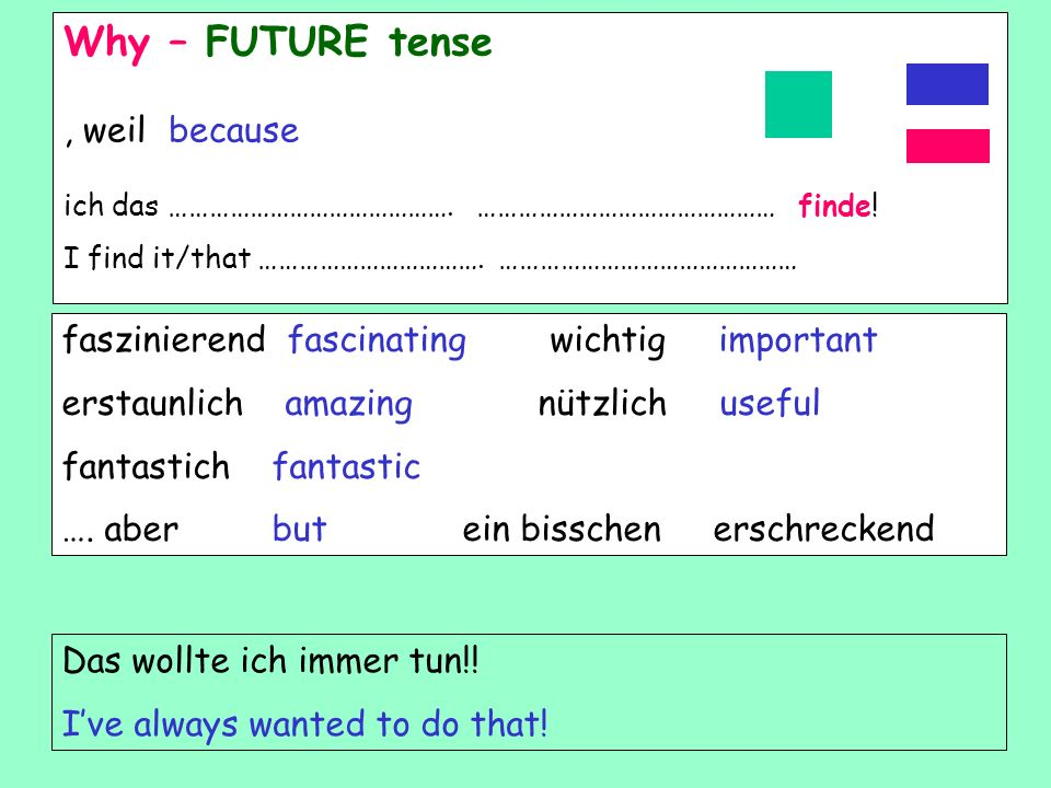 Why – FUTURE tense , weil because