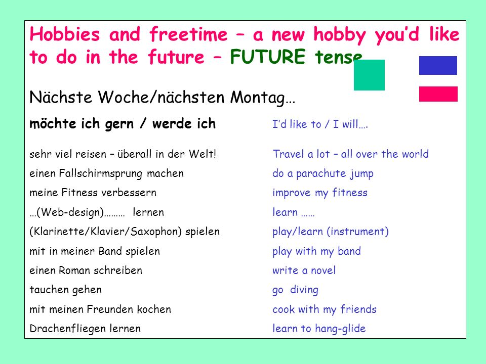 Hobbies and freetime – a new hobby you'd like to do in the future – FUTURE tense