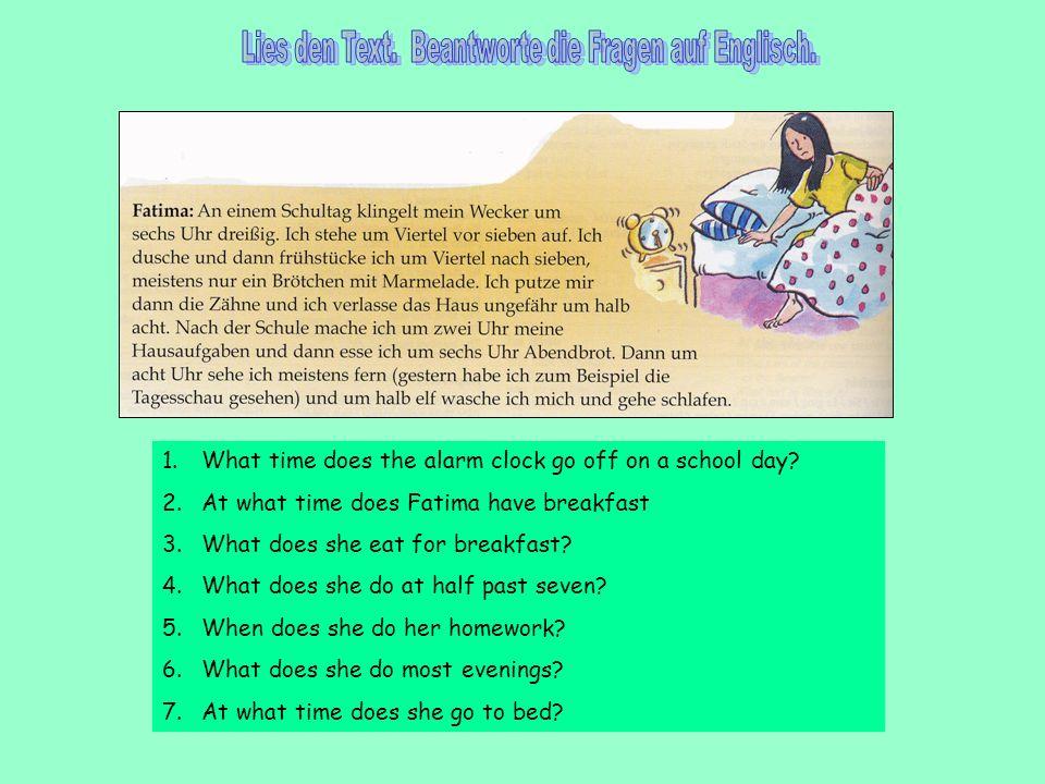 Lies den Text. Beantworte die Fragen auf Englisch.