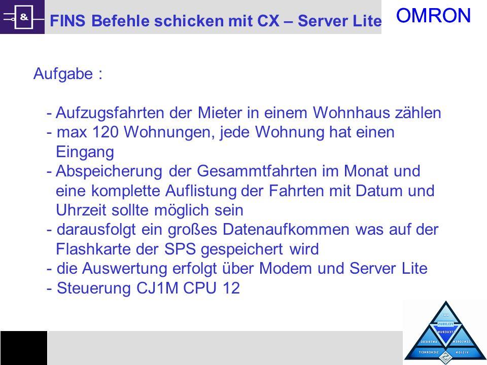 OMRON 1 FINS Befehle schicken mit CX – Server Lite Aufgabe :