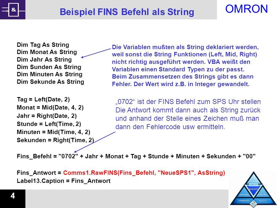Beispiel FINS Befehl als String