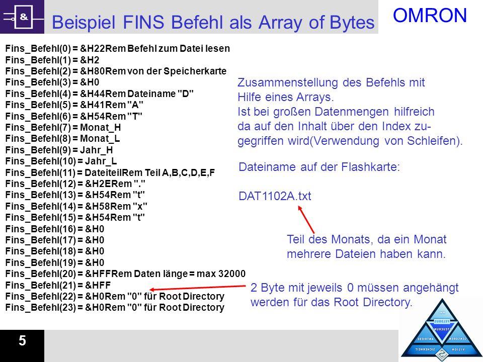 Beispiel FINS Befehl als Array of Bytes