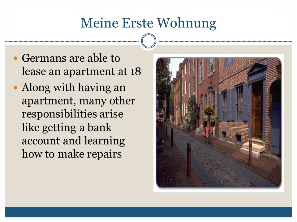 Meine Erste Wohnung Germans are able to lease an apartment at 18