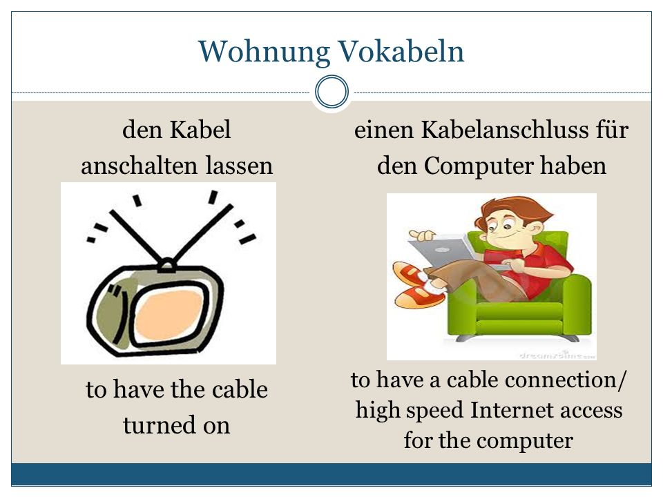 Wohnung Vokabeln den Kabel anschalten lassen
