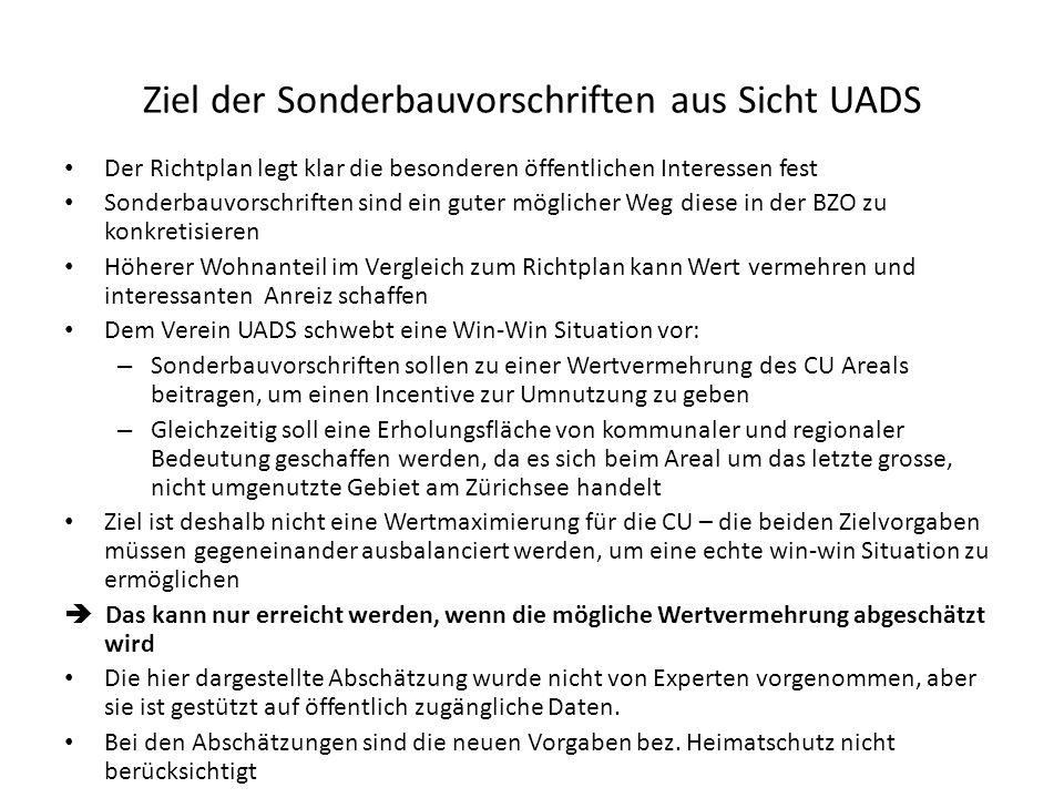 Ziel der Sonderbauvorschriften aus Sicht UADS
