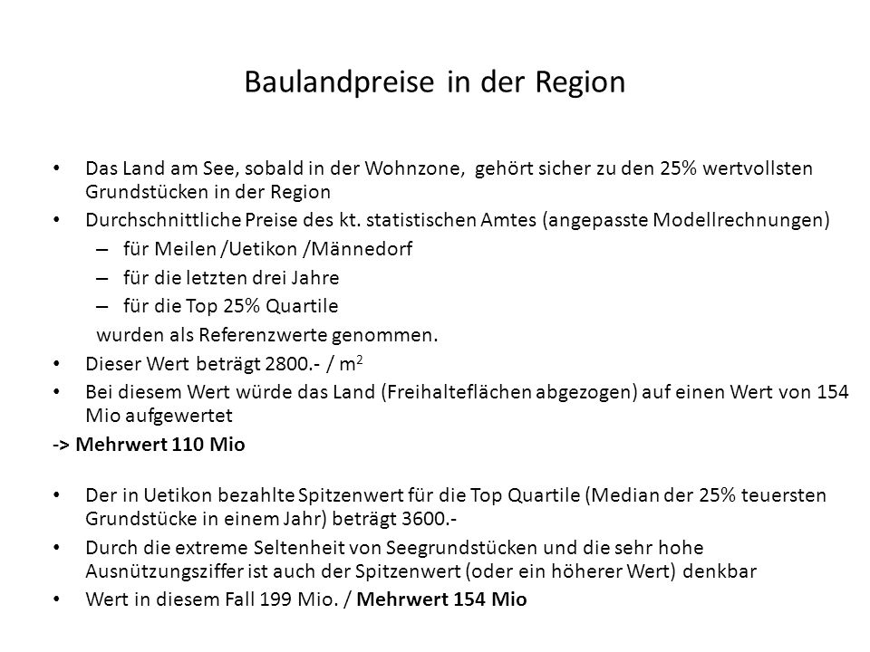 Baulandpreise in der Region