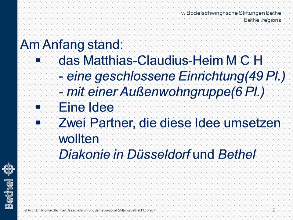 Am Anfang stand: das Matthias-Claudius-Heim M C H - eine geschlossene Einrichtung(49 Pl.) - mit einer Außenwohngruppe(6 Pl.)
