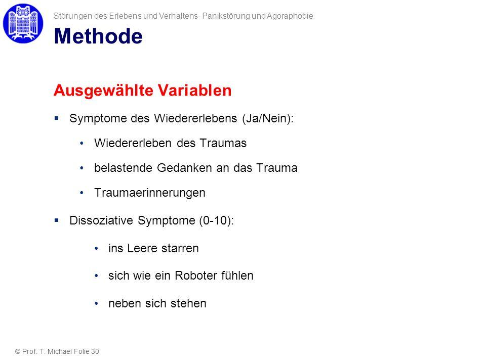 Methode Ausgewählte Variablen Symptome des Wiedererlebens (Ja/Nein):