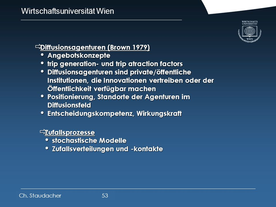 Diffusionsagenturen (Brown 1979) Angebotskonzepte