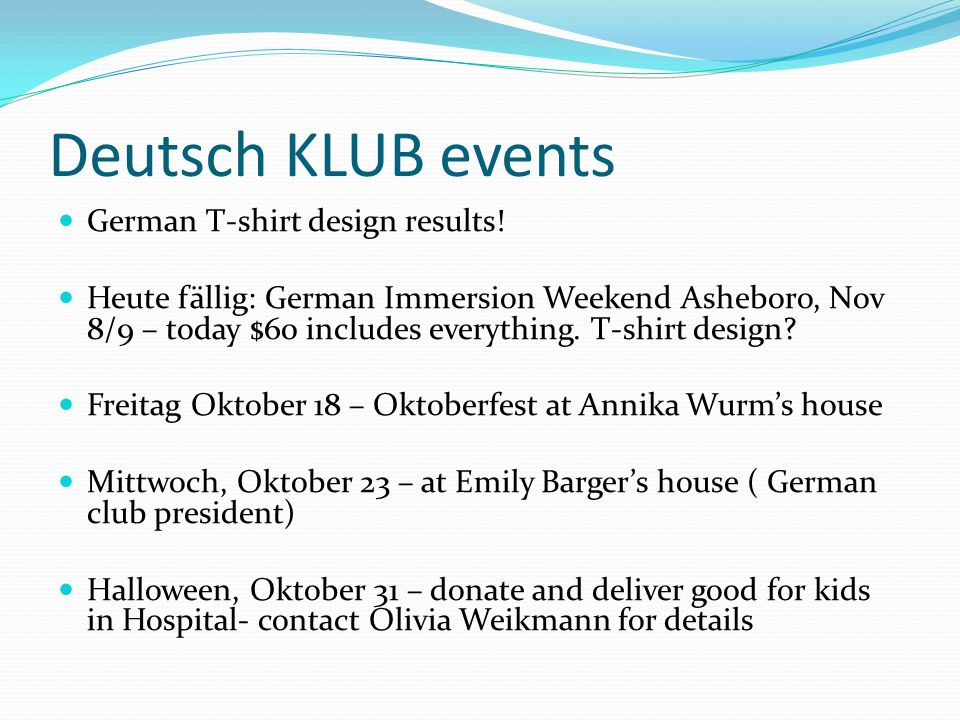 Deutsch KLUB events German T-shirt design results!