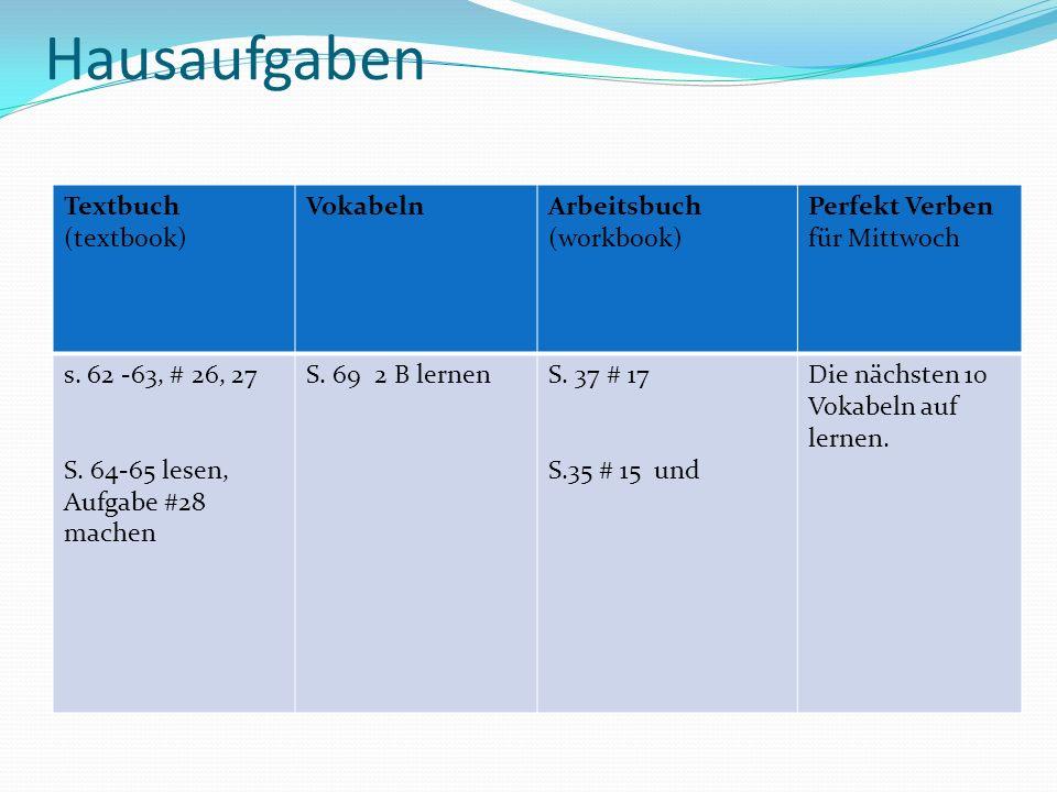 Hausaufgaben Textbuch (textbook) Vokabeln Arbeitsbuch (workbook)