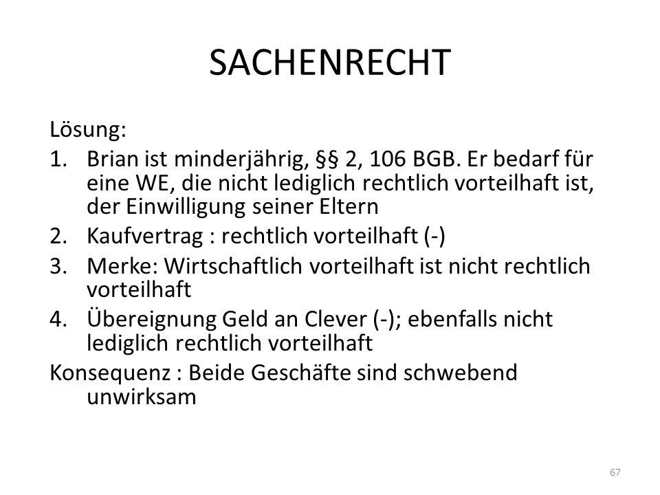 SACHENRECHT Lösung: