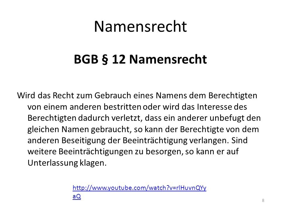 Namensrecht BGB § 12 Namensrecht