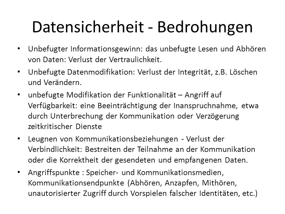 Datensicherheit - Bedrohungen