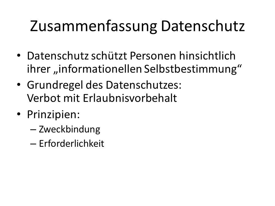 Zusammenfassung Datenschutz