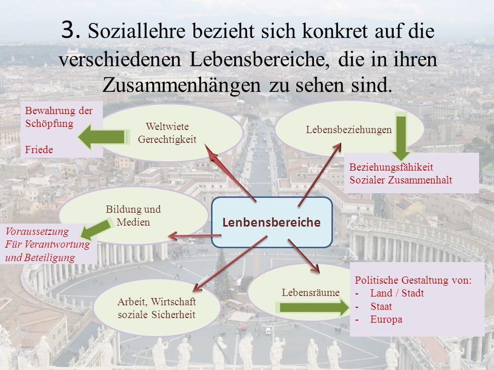 3. Soziallehre bezieht sich konkret auf die verschiedenen Lebensbereiche, die in ihren Zusammenhängen zu sehen sind.
