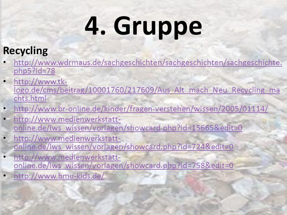 4. Gruppe Recycling. http://www.wdrmaus.de/sachgeschichten/sachgeschichten/sachgeschichte.php5 id=78.
