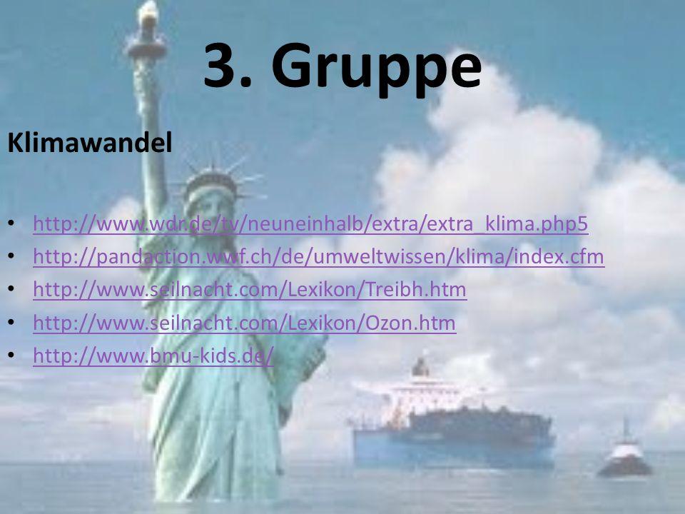 3. Gruppe Klimawandel. http://www.wdr.de/tv/neuneinhalb/extra/extra_klima.php5. http://pandaction.wwf.ch/de/umweltwissen/klima/index.cfm.