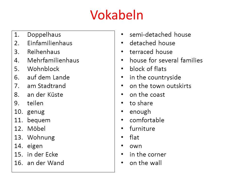 Vokabeln Doppelhaus Einfamilienhaus Reihenhaus Mehrfamilienhaus