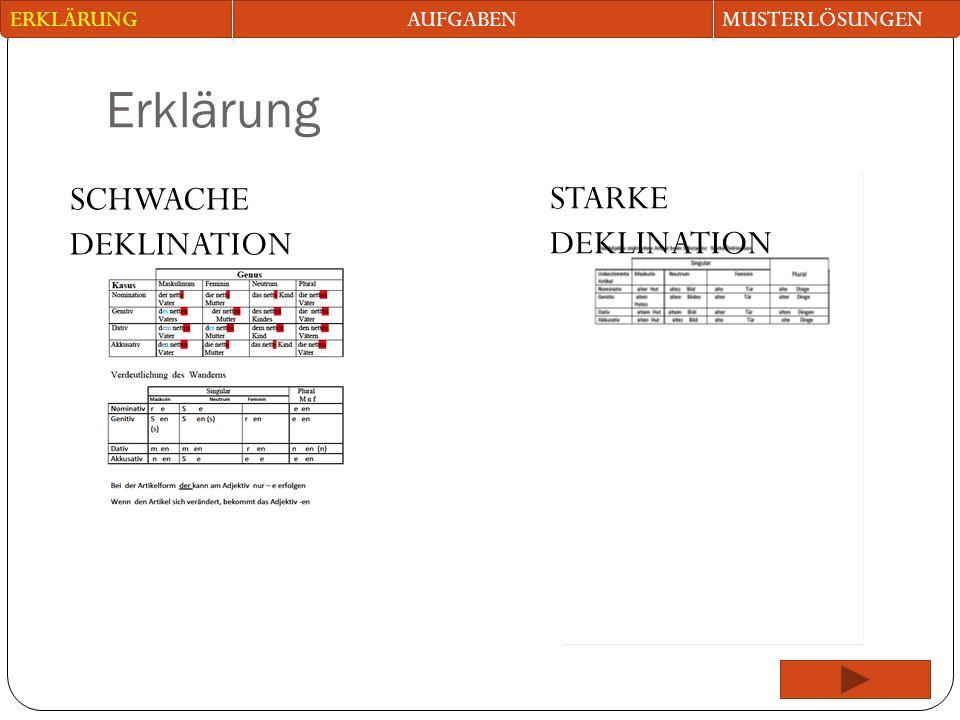 Erklärung SCHWACHE DEKLINATION STARKE DEKLINATION ERKLÄRUNG AUFGABEN
