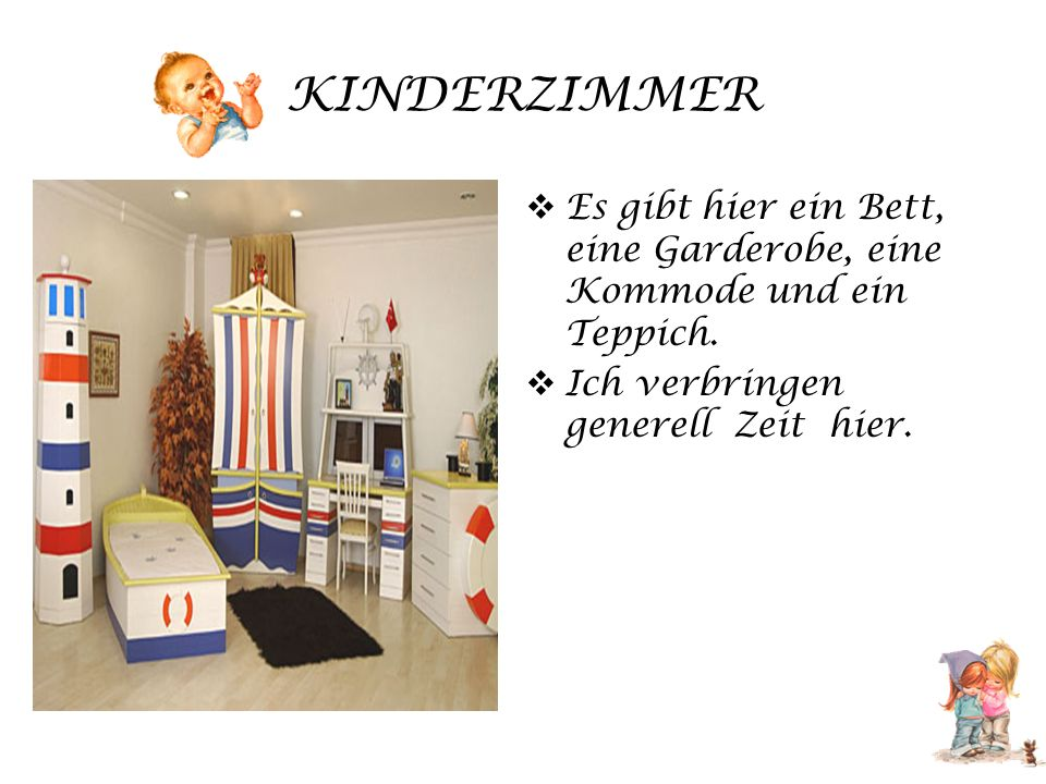 KINDERZIMMER Es gibt hier ein Bett, eine Garderobe, eine Kommode und ein Teppich.